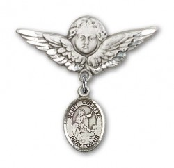 Pin Badge with St. Colette Charm and Angel with Larger Wings Badge Pin [BLBP1746]