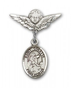 Pin Badge with St. Colette Charm and Angel with Smaller Wings Badge Pin [BLBP1747]