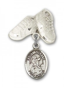 Pin Badge with St. Colette Charm and Baby Boots Pin [BLBP1749]