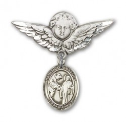 Pin Badge with St. Columbanus Charm and Angel with Larger Wings Badge Pin [BLBP2108]