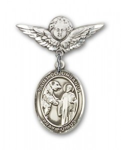 Pin Badge with St. Columbanus Charm and Angel with Smaller Wings Badge Pin [BLBP2109]