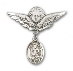 Pin Badge with St. Daniel Charm and Angel with Larger Wings Badge Pin [BLBP0430]