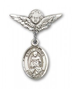 Pin Badge with St. Daniel Charm and Angel with Smaller Wings Badge Pin [BLBP0431]