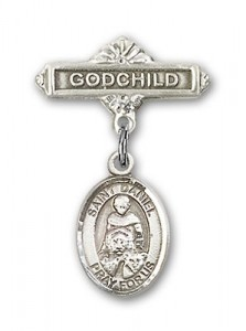 Pin Badge with St. Daniel Charm and Godchild Badge Pin [BLBP0432]