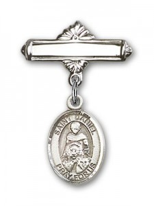 Pin Badge with St. Daniel Charm and Polished Engravable Badge Pin [BLBP0427]