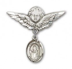 Pin Badge with St. David of Wales Charm and Angel with Larger Wings Badge Pin [BLBP0451]
