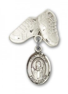 Pin Badge with St. David of Wales Charm and Baby Boots Pin [BLBP0454]
