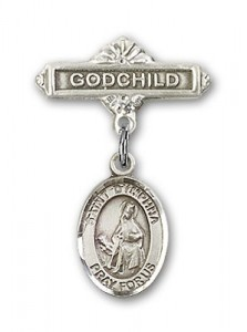 Pin Badge with St. Dymphna Charm and Godchild Badge Pin [BLBP0488]