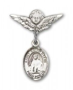 Pin Badge with St. Edith Stein Charm and Angel with Smaller Wings Badge Pin [BLBP0984]