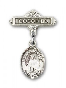 Pin Badge with St. Edith Stein Charm and Godchild Badge Pin [BLBP0985]