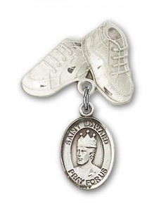 Pin Badge with St. Edward the Confessor Charm and Baby Boots Pin [BLBP0447]