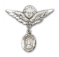 Pin Badge with St. Elizabeth of Hungary Charm and Angel with Larger Wings Badge Pin [BLBP0493]