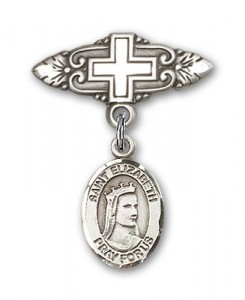 Pin Badge with St. Elizabeth of Hungary Charm and Badge Pin with Cross [BLBP0491]
