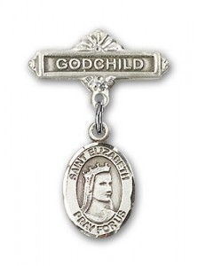 Pin Badge with St. Elizabeth of Hungary Charm and Godchild Badge Pin [BLBP0495]