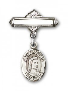 Pin Badge with St. Elizabeth of Hungary Charm and Polished Engravable Badge Pin [BLBP0490]