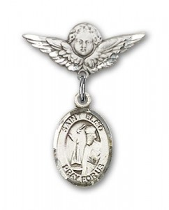 Pin Badge with St. Elmo Charm and Angel with Smaller Wings Badge Pin [BLBP0480]
