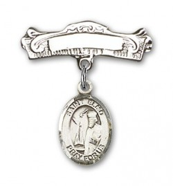 Pin Badge with St. Elmo Charm and Arched Polished Engravable Badge Pin [BLBP0478]
