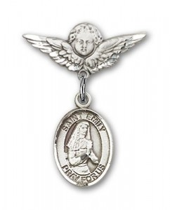 Pin Badge with St. Emily de Vialar Charm and Angel with Smaller Wings Badge Pin [BLBP0592]