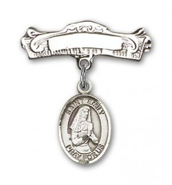 Pin Badge with St. Emily de Vialar Charm and Arched Polished Engravable Badge Pin [BLBP0590]