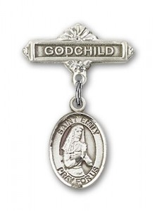 Pin Badge with St. Emily de Vialar Charm and Godchild Badge Pin [BLBP0593]