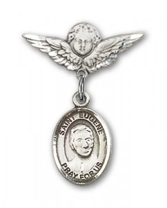 Pin Badge with St. Eugene de Mazenod Charm and Angel with Smaller Wings Badge Pin [BLBP1733]