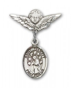 Pin Badge with St. Felicity Charm and Angel with Smaller Wings Badge Pin [BLBP2214]