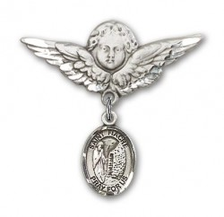 Pin Badge with St. Fiacre Charm and Angel with Larger Wings Badge Pin [BLBP1954]