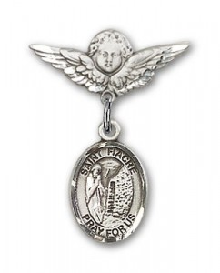 Pin Badge with St. Fiacre Charm and Angel with Smaller Wings Badge Pin [BLBP1955]