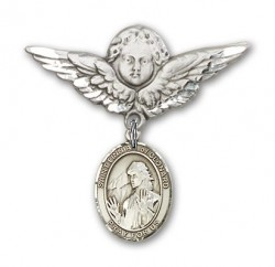 Pin Badge with St. Finnian of Clonard Charm and Angel with Larger Wings Badge Pin [BLBP2024]