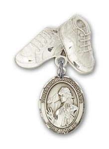 Pin Badge with St. Finnian of Clonard Charm and Baby Boots Pin [BLBP2027]
