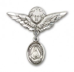 Pin Badge with St. Frances Cabrini Charm and Angel with Larger Wings Badge Pin [BLBP0338]
