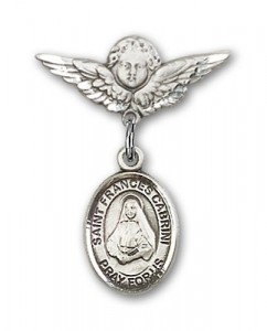 Pin Badge with St. Frances Cabrini Charm and Angel with Smaller Wings Badge Pin [BLBP0339]