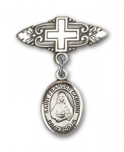 Pin Badge with St. Frances Cabrini Charm and Badge Pin with Cross [BLBP0336]