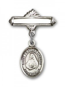Pin Badge with St. Frances Cabrini Charm and Polished Engravable Badge Pin [BLBP0335]
