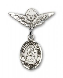 Pin Badge with St. Frances of Rome Charm and Angel with Smaller Wings Badge Pin [BLBP2326]