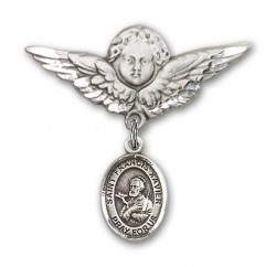Pin Badge with St. Francis Xavier Charm and Angel with Larger Wings Badge Pin [BLBP0521]