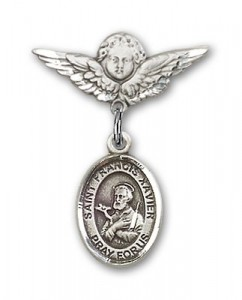 Pin Badge with St. Francis Xavier Charm and Angel with Smaller Wings Badge Pin [BLBP0522]
