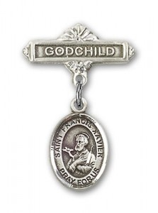 Pin Badge with St. Francis Xavier Charm and Godchild Badge Pin [BLBP0523]