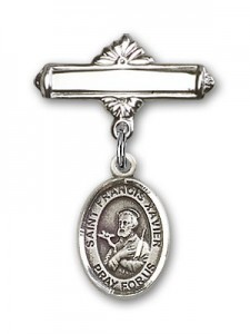 Pin Badge with St. Francis Xavier Charm and Polished Engravable Badge Pin [BLBP0518]