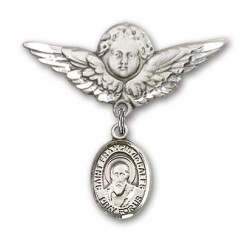 Pin Badge with St. Francis de Sales Charm and Angel with Larger Wings Badge Pin [BLBP0507]