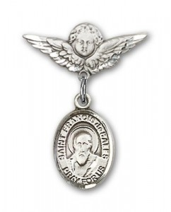 Pin Badge with St. Francis de Sales Charm and Angel with Smaller Wings Badge Pin [BLBP0508]