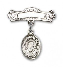 Pin Badge with St. Francis de Sales Charm and Arched Polished Engravable Badge Pin [BLBP0506]
