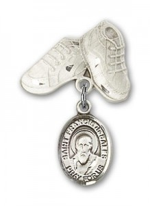 Pin Badge with St. Francis de Sales Charm and Baby Boots Pin [BLBP0510]