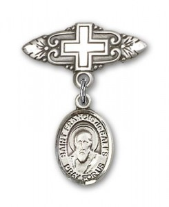 Pin Badge with St. Francis de Sales Charm and Badge Pin with Cross [BLBP0505]