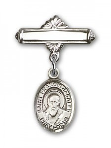 Pin Badge with St. Francis de Sales Charm and Polished Engravable Badge Pin [BLBP0504]