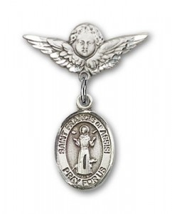 Pin Badge with St. Francis of Assisi Charm and Angel with Smaller Wings Badge Pin [BLBP0515]