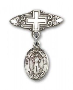 Pin Badge with St. Francis of Assisi Charm and Badge Pin with Cross [BLBP0512]