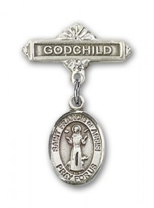 Pin Badge with St. Francis of Assisi Charm and Godchild Badge Pin [BLBP0516]