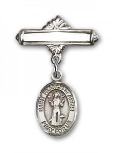 Pin Badge with St. Francis of Assisi Charm and Polished Engravable Badge Pin [BLBP0511]
