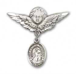 Pin Badge with St. Gabriel the Archangel Charm and Angel with Larger Wings Badge Pin [BLBP0535]